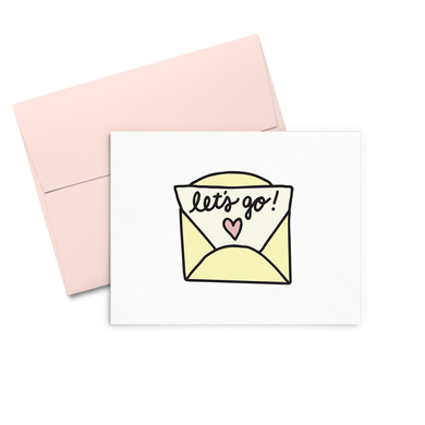 Let's Go Envelope is a cute greeting card of a yellow letter and includes a pink envelope.