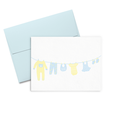 Baby cards showing a clothing line full of yellow and light blue baby clothes and accessories.