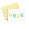 Baby cards printed with an alternating yellow and light blue banner that spells Baby on a pink string and surrounded by multicolor confetti