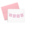 Baby cards showing a light pink banner that spells Baby and surrounded by light pink confetti
