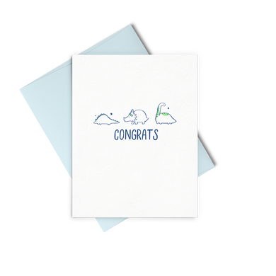 Congrats Dinos is a cute baby card with a gender neutral design.