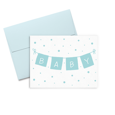 Baby cards with a light blue banner that spells Baby and surrounded by light blue confetti