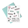 You're The Sweetest is a cute thank you card with illustrated candies and a blue envelope.
