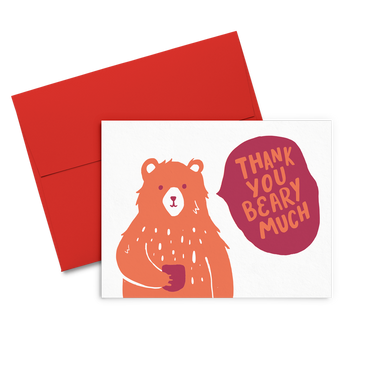 Thank You Beary Much is a cute thank you card with a bear holding a coffee cup with a red envelope.