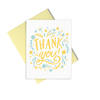 Thank You Floral is a thank you card with yellow text and a yellow envelope.