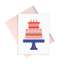Party Cake is a cute birthday card of a red and pink cake with a pink envelope.