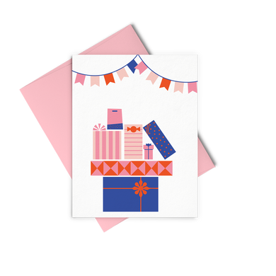 Pile Of Gifts is a cute birthday card with colorful gifts and a pink envelope.