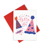 Party Time, Party Hats is a cute birthday card featuring party hats and includes a red envelope.