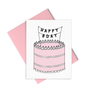 Letterpress greeting card showing a pink three tiered birthday cake with a banner hanging over the cake that reads Happy Bday