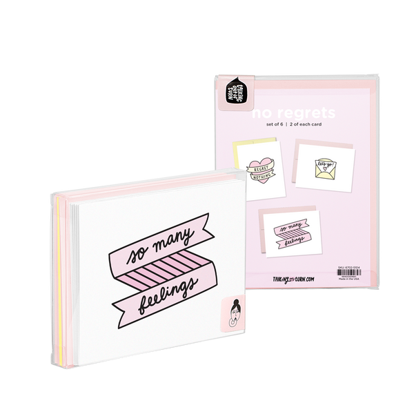 No Regrets Stationery Set comes packaged in a clear box with an illustrated backer card.