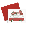 Greetings Van is a cute holiday greeting card of a retro VW bus piled high with gifts.