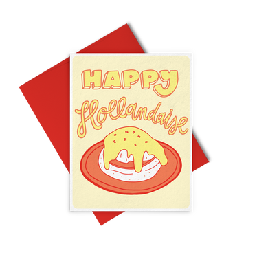 Happy Hollandaise is a cute holiday greeting card with a cheeky saying in yellow and red.
