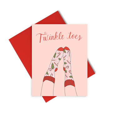 Twinkle Toes is a cute holiday greeting card of christmas socks on feet.