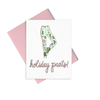 Holiday Pants is a cute holiday greeting card of patchwork pants with pink greetings.
