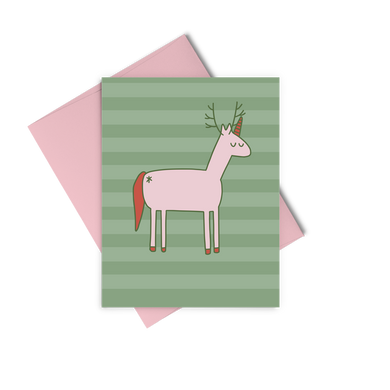 Christmas Unicorn is a cute holiday greeting card with a unicorn reindeer illustration.