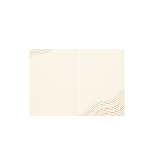 Cream pages of a spread for a small notebook with rainbow wavy lines in the top left and bottom right corners.