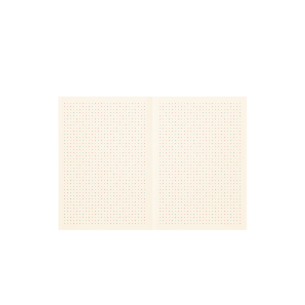 Cream spread to a small notebook with a small dot grid pattern in rainbow colors.