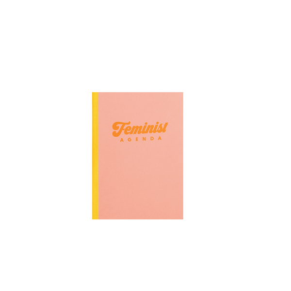 A small peach notebook that says Feminist in orange across the cover