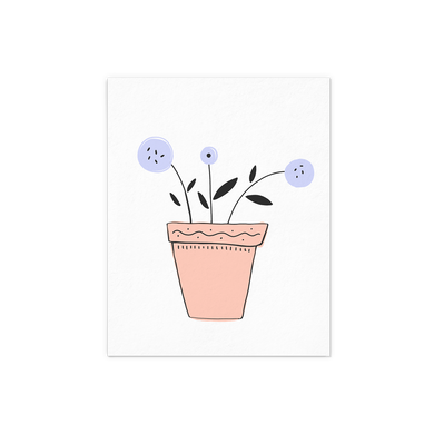 Lavender Flower with leaves in a terracotta pot art print.