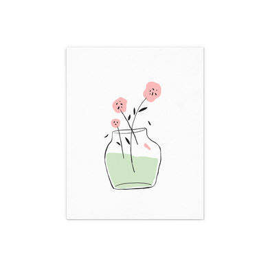 Pink Flower in a vase with green water letter pressed art print.