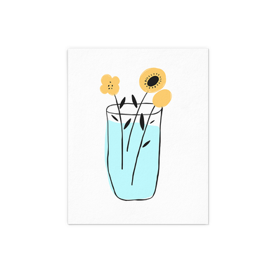 Yellow Flower in a vase with blue water art print.