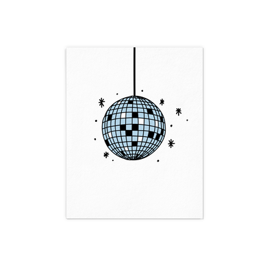 Disco Ball in blue with sparkles letter pressed art print.