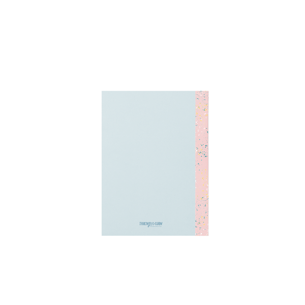 Back cover of a small light blue notebook with a patterned pink binding