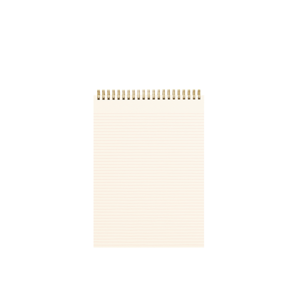 Inside of a large wire-bound taskpad showing a page with peach lines.