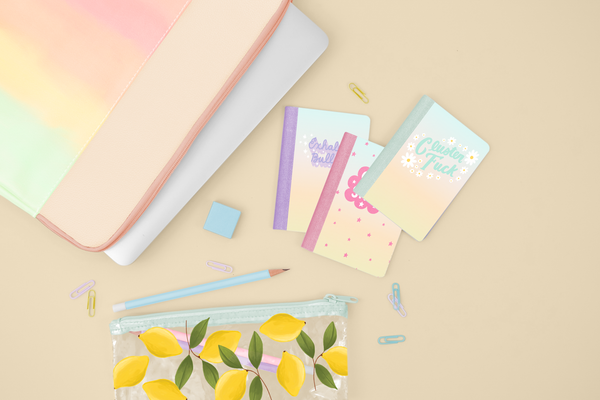 A flat lay of 3 mini notebooks, a ombre rainbow laptop and a lemon pouch.