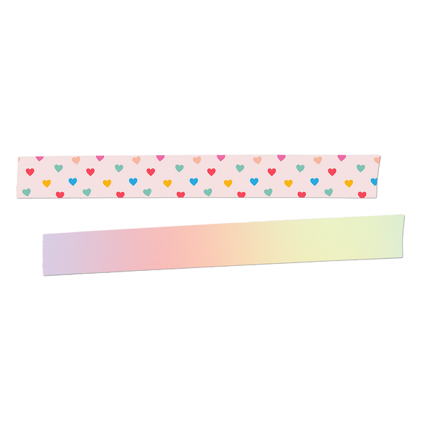 PInk washi tape with rainbow hearts and a rainbow ombre washi tape