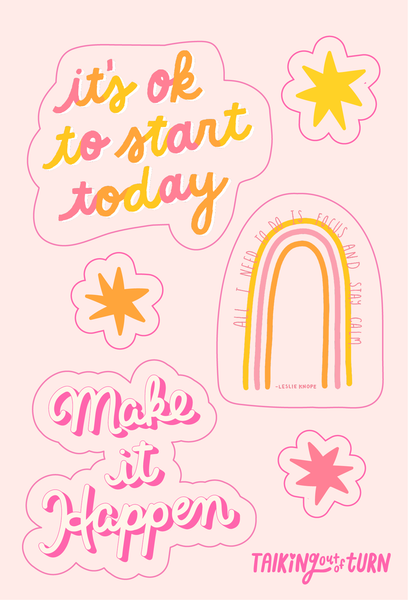 A sticker set with little stars, some cute sayings and a rainbow with Leslie Knope quote.