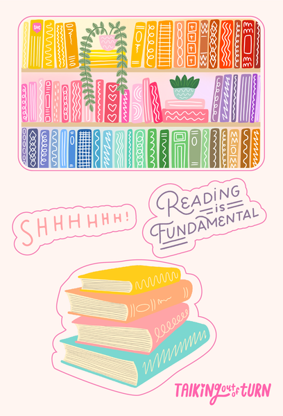 "A sticker set of library books, ""shhhhh"", reading is fundamental and a stack of books."