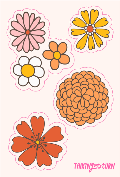 A sticker set of flowers.