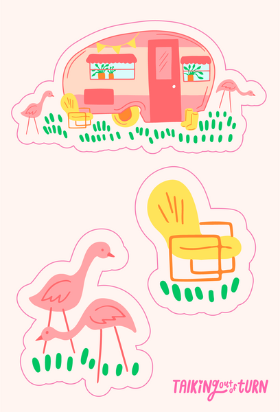 A sticker sheet with a camper, camper chair and flamingos!