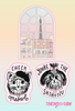 A sticker set of the Eiffel Tower, a cat that says