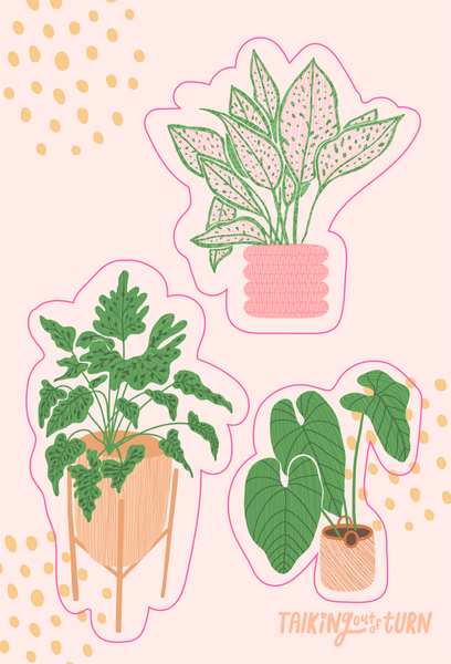 A sticker set with three different plants.