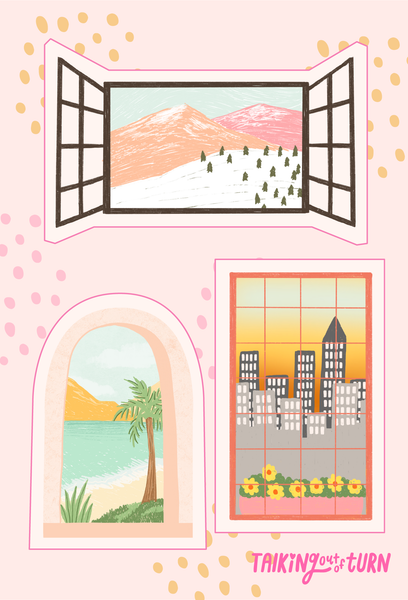 A sticker set of windows with three different landscapes.