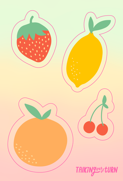 A sticker set of fruit! A strawberry, a lemon, an orange and a cherry stem!
