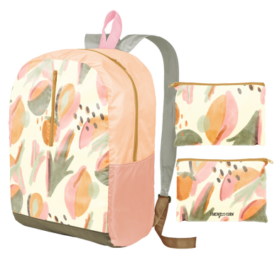 a ripstop backpack with an abstract leaf pattern