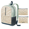 a ripstop backpack with terrazzo print
