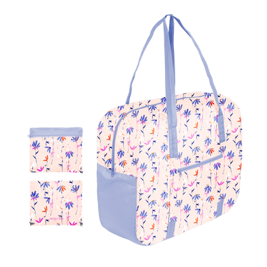 a ripstop bag with periwinkle straps and floral pattern