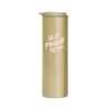 Gold Steel Tumbler with matching lid and 'Is it friday yet?' design printed in light pink.