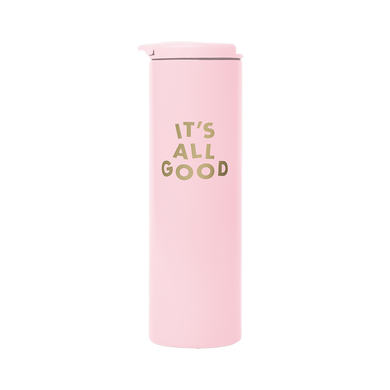 Blush Pink Steel Tumbler with 'It's All Good' printed in gold.