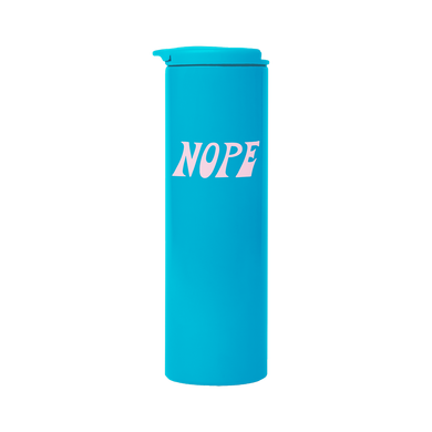Bright Blue Steel Tumbler with nope retro lettering design in blush pink.