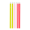 Six pack of bright and colorful pencils including neon coral, blush pink, and citron all printed with different sayings.