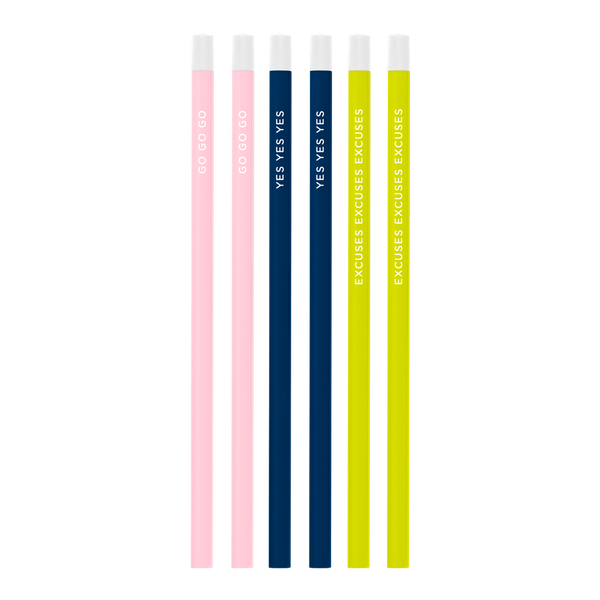 Six pack of pencils in blush pink, navy blue, and citron green with funny words print.