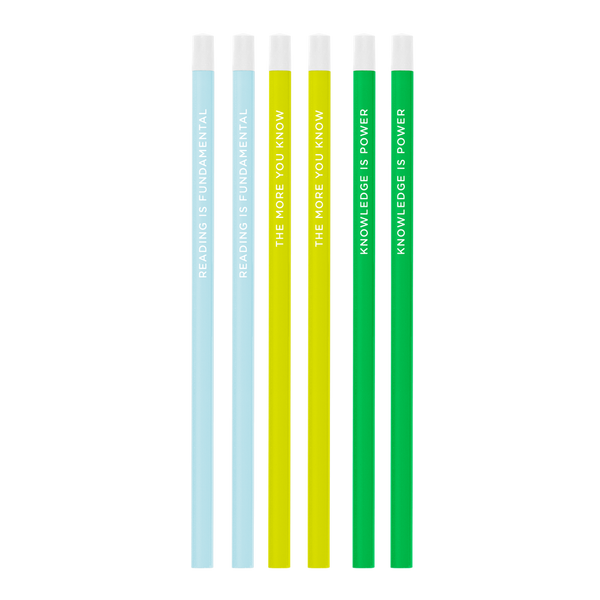 Three pack of bright and colorful pencils including powder blue, citron, and grass green all printed with different sayings.