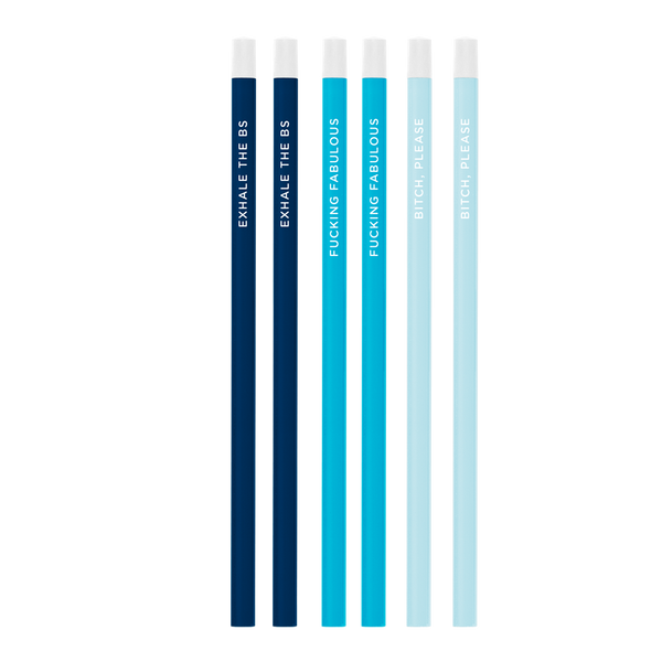 Six pack of bright pencils including navy blue, bright blue, and powder blue all printed with different sayings.