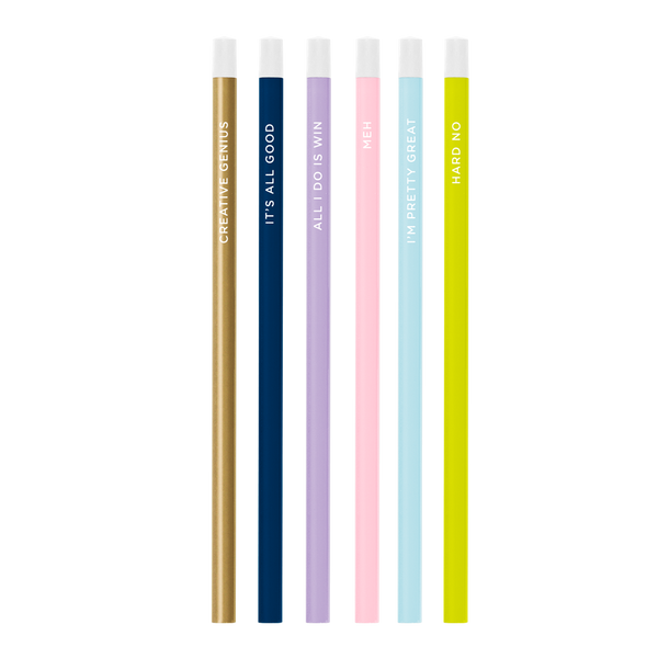 Six pack of colorful pencils including gold, pastels, and citron all printed with different sayings..