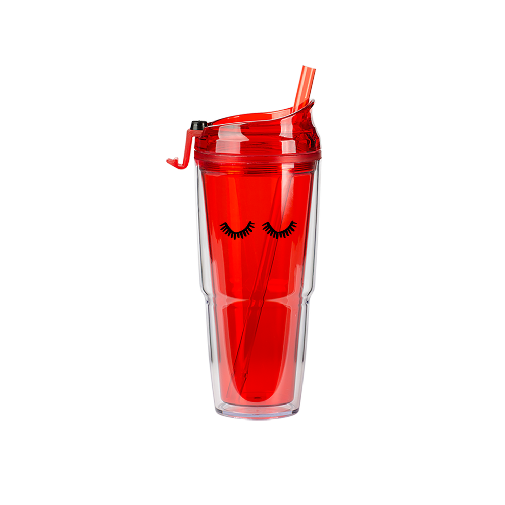 Eyelashes Red Plastic Tumbler - Talking Out Of Turn - [product_description]